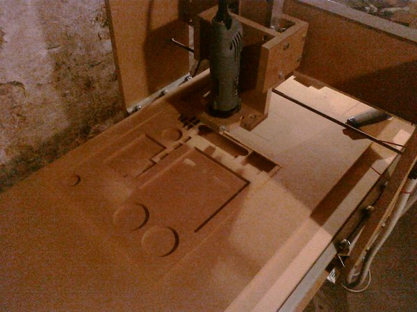 CNC Router made out of MDF milling the center part of the 737 MIP