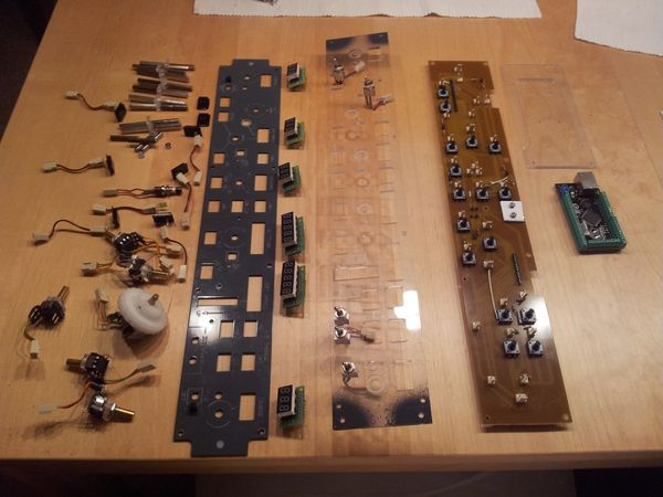 All components needed for the new MCP have been placed on my kitches table before the assembly process